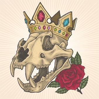 Teschio di tigre che indossa illustrazione della corona