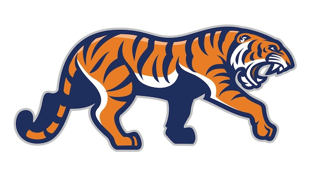 Tigre in stile mascotte sport isolato su bianco