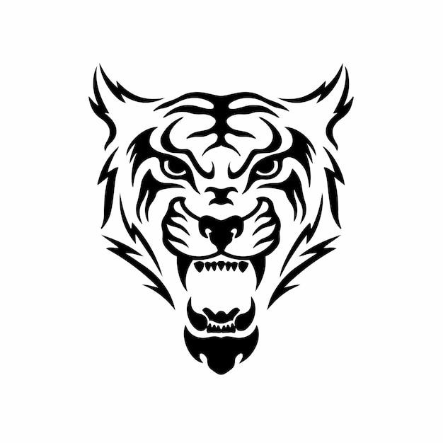 Illustrazione di vettore dello stencil di disegno del tatuaggio tribale del logo di simbolo della tigre