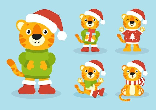Simbolo della tigre in un cappello invernale felice anno nuovo e buon natale