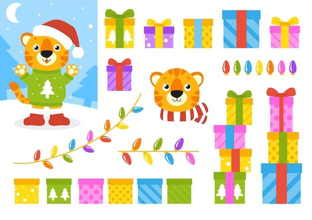 Simbolo della tigre in un cappello invernale con regali anno nuovo e buon natale