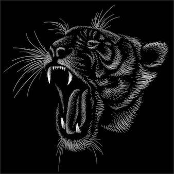 La tigre per il design del tatuaggio o t-shirt o capispalla.