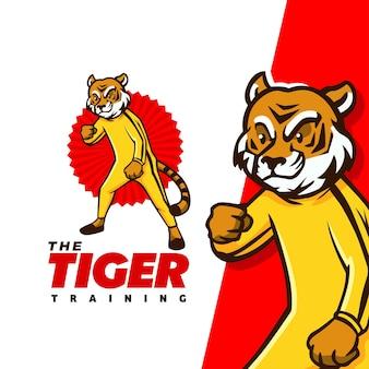 Il logo della mascotte del personaggio tiger training adatto per la squadra della palestra