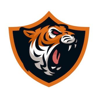 Illustrazione della mascotte di logo icona di vettore della tigre