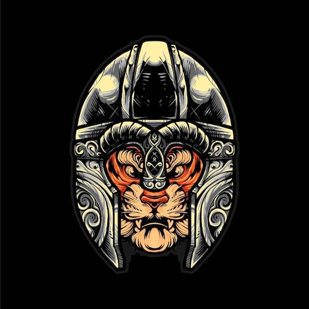 Illustrazione vettoriale di elmo vichingo tigre, stile cartone animato moderno adatto per t-shirt o prodotti di stampa