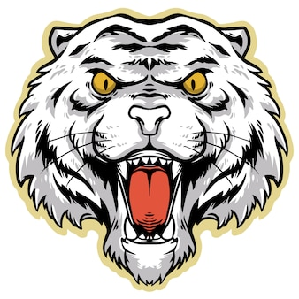 Design arrabbiato testa di tigre bianca