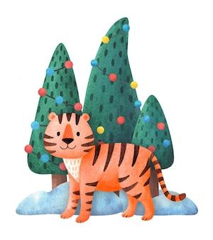 Tigre con un albero di natale. biglietto di capodanno del 2022. disegni per una stampa carina e festosa. una tigre in stile cartone animato.