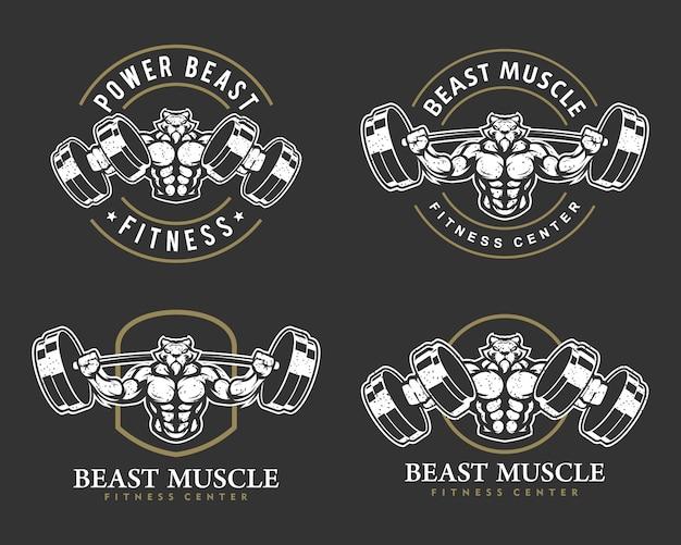 Tigre con corpo forte, set di logo di fitness club o palestra.