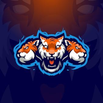 Illustrazione di progettazione di logo della mascotte di esport delle tigri