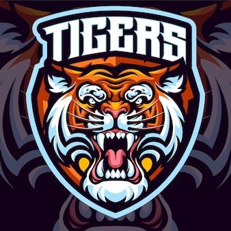 Modello logo mascotte tigri