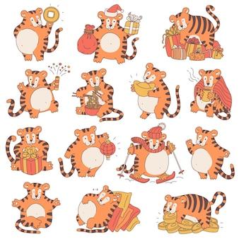 Tigri con simboli del capodanno cinese simpatiche illustrazioni di cartoni animati di tigri differenti