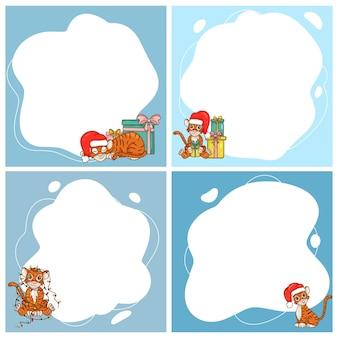 Tigri. simbolo del nuovo anno secondo il calendario cinese. set di telaio vettoriale sotto forma di un punto in stile cartone animato piatto. modello per foto per bambini, cartoline, inviti.