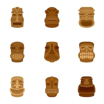 Set di icone tiki. set piatto di 9 icone vettoriali tiki