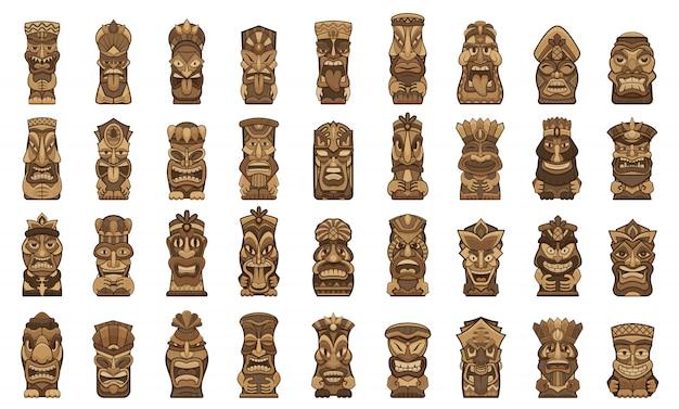 Set di icone di idoli di tiki. insieme del fumetto delle icone degli idoli di tiki