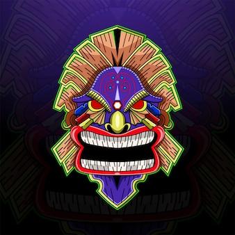 Tiki maschera esport logo mascotte