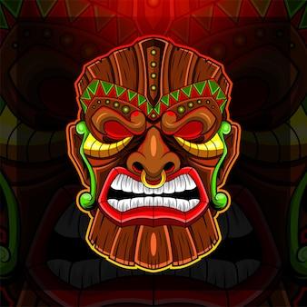 Logo della mascotte esport della maschera tiki