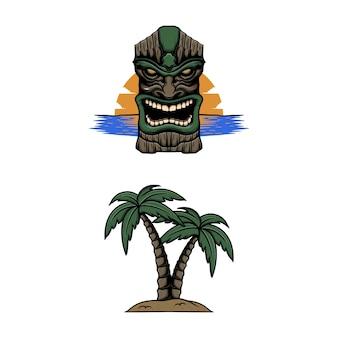 Tiki paradiso con illustrazione vettoriale albero di cocco