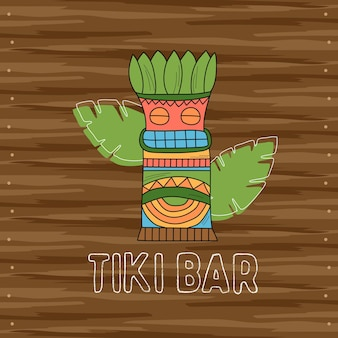 Maschera tribale in legno tiki, insegna del bar. elementi tradizionali hawaiani