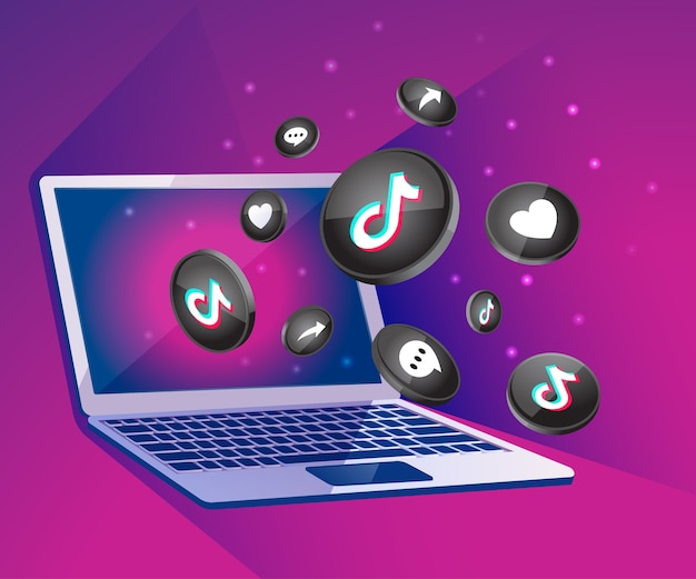 Tiktiok 3d social media icona con il dekstop del computer portatile