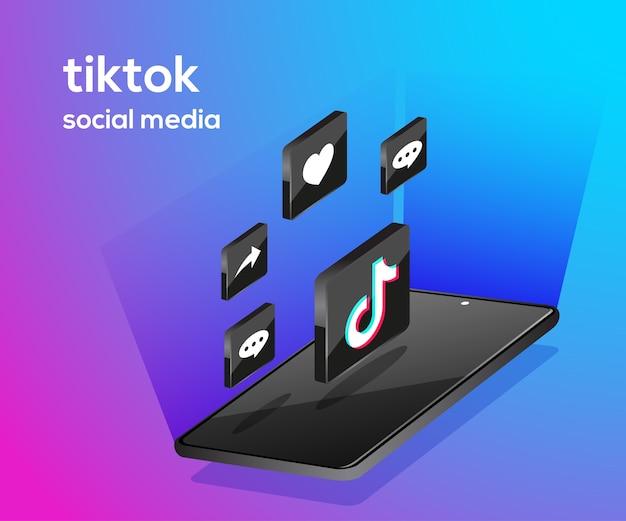 Icone di social media tiktiok con smartphone