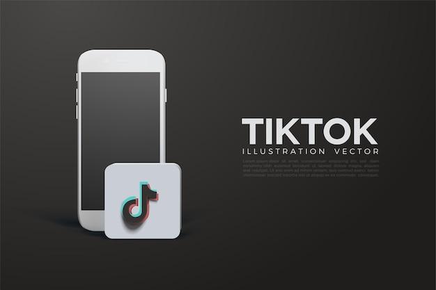 Tiktok 3d con smartphone bianco e logo