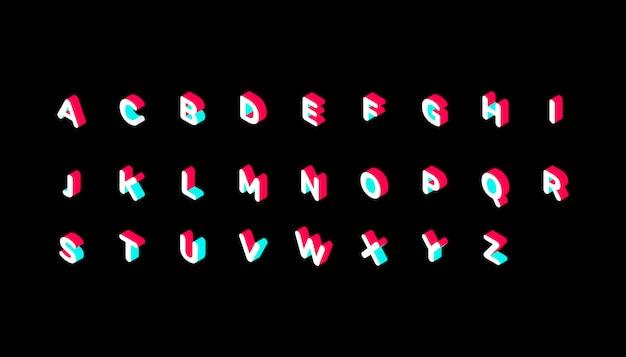 Alfabeto isometrico di colore tiktok