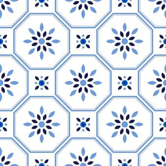 Modello delle mattonelle, fondo senza cuciture floreale decorativo variopinto, bella illustrazione ceramica di vettore della decorazione della carta da parati
