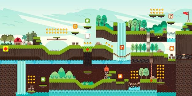 Illustrazione stabilita del gioco della piattaforma delle mattonelle