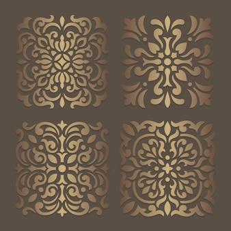 Disegno dello stencil delle mattonelle. sagoma ornato per macchine da taglio o fustellatura laser. modello di decalcomania in legno orientale.