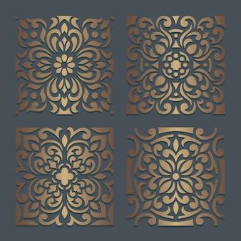 Disegno dello stencil delle mattonelle. sagoma ornato per macchine da taglio o fustellatura laser. modello di decalcomania in legno orientale. Vettore Premium