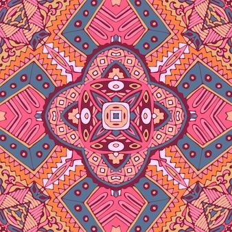 Motivo boho etnico piastrellato per tessuto. ornamento senza cuciture dell'annata del mosaico geometrico astratto.