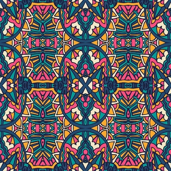 Modello colorato etnico piastrellato. modello senza cuciture del damasco del fiore retrò geometrico astratto ornamentale.