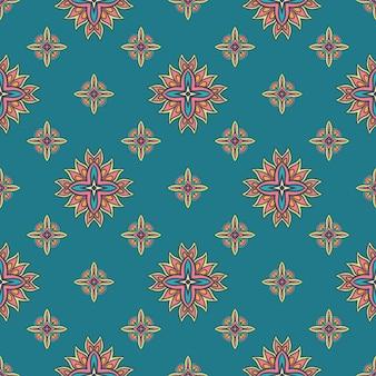 Motivo colorato etnico piastrellato per tessuto fiori di mosaico geometrico astratto