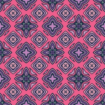Motivo etnico piastrellato per tessuto. mosaico geometrico astratto vintage seamless pattern ornamentali piastrelle rosa