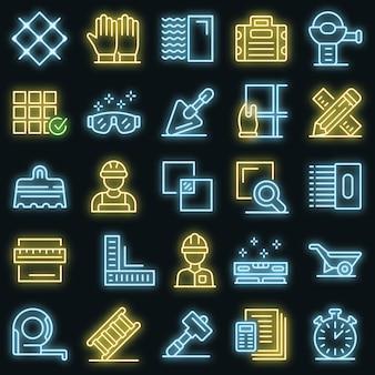 Set di icone del piastrellista. contorno set di icone vettoriali piastrellista colore neon su nero