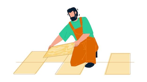 Piastrellista uomo installazione di piastrelle per pavimento in ceramica vettore. piastrellista riparatore appaltatore tilling lavori di ristrutturazione. personaggio tuttofare installatore professionale pavimentazione lavoro piatto fumetto illustrazione