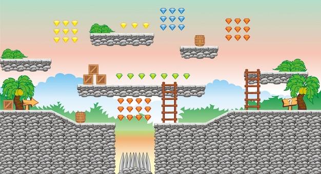 Piattaforma tileset e sfondo per la creazione di giochi per cellulari