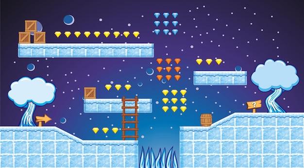 Piattaforma di tileset e sfondo per la creazione di giochi per cellulari
