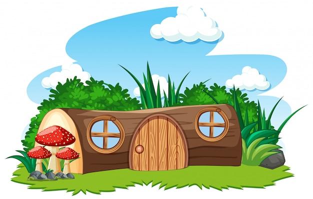 Casa in legno e un certo stile del fumetto del fungo su fondo bianco