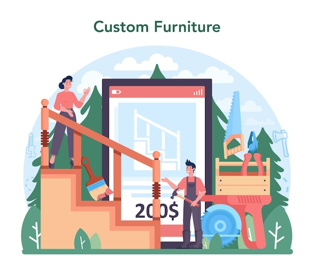 Servizio o piattaforma online per l'industria del legno. registrazione e lavorazione del legno