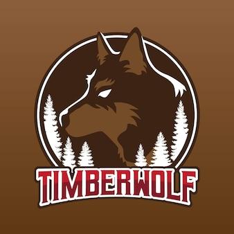 Disegno del logo della mascotte di timberwolf
