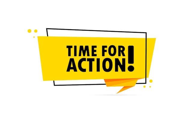 Tempo per l'azione. insegna del fumetto di stile di origami. modello di disegno adesivo con testo time for action. vettore env 10. isolato su priorità bassa bianca.