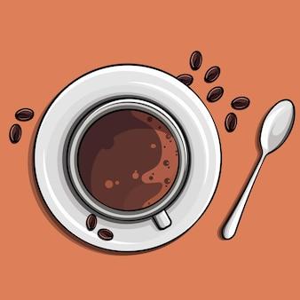 Tempo per un'immagine appetitosa del caffè, una tazza di caffè e un cucchiaio