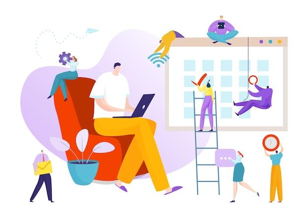 Concetto piatto di gestione e organizzazione aziendale di tempo