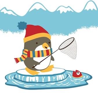 Tempo per catturare il vettore di cartoon di pesce