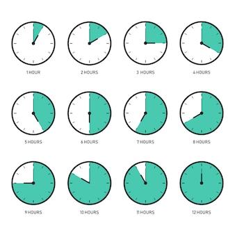 Icona piana dell'orologio imposta il design piatto