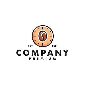 Tempo caffè logo design orologio icona logotipo vettoriale