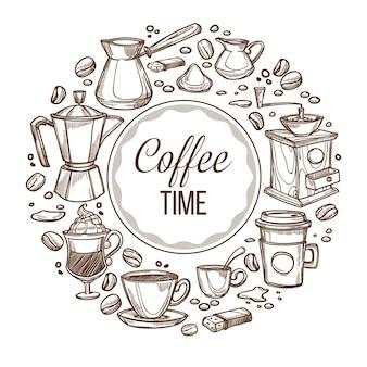 È ora di bere caffè, banner arrotondato con tazza di bevanda, fagioli e cezve