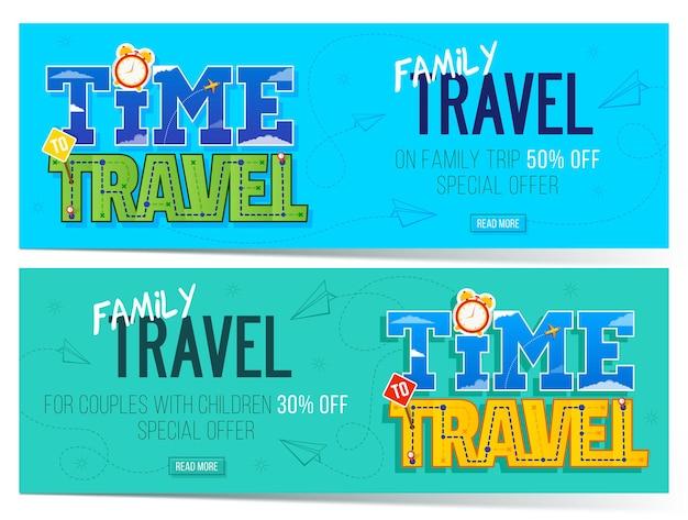 Tempo per i banner di viaggio in famiglia può essere utilizzato per i social media web del blog del volantino di promozione del marketing