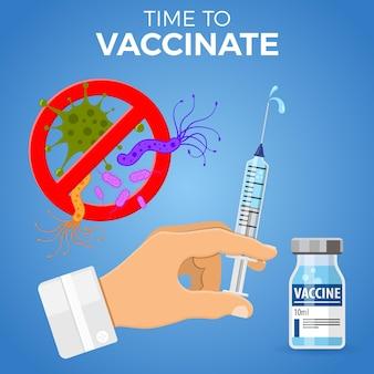 Tempo per il concetto di vaccino antinfluenzale. icona siringa medica con flaconcino di vaccino, ago e goccia in mano del medico.